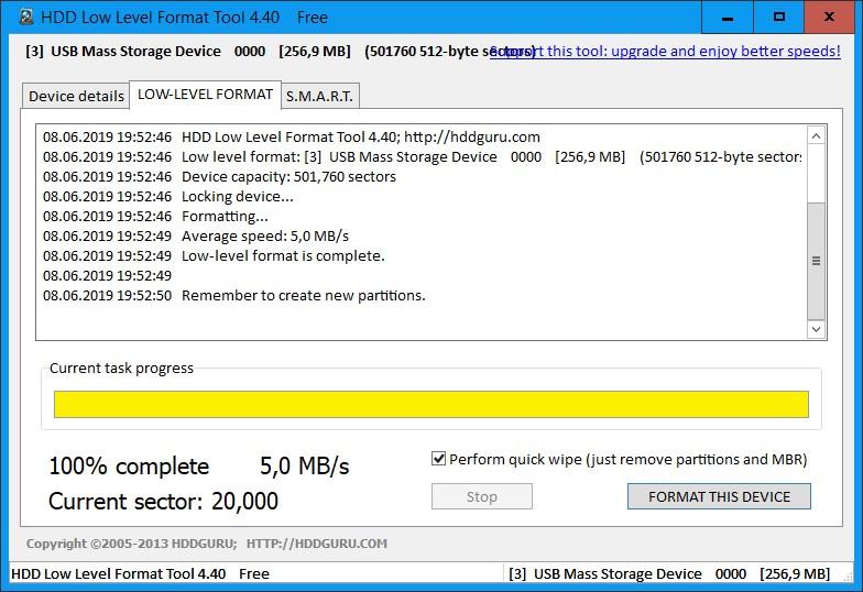 Низкоуровневое форматирование карты памяти microsd